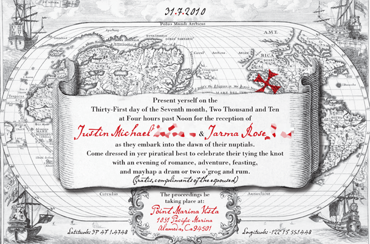 jarma & justin pirate map invitation